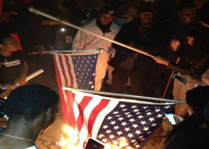Ferguson Flag Burning