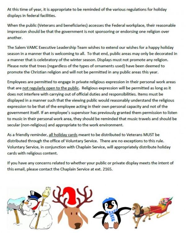 Salem VA letter about Christmas
