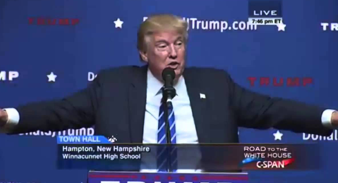 Donald Trump speaking in New Hampshire