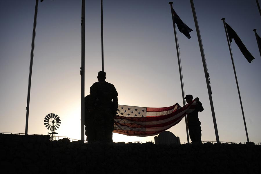 Morning Flag Raising in Afghanistan