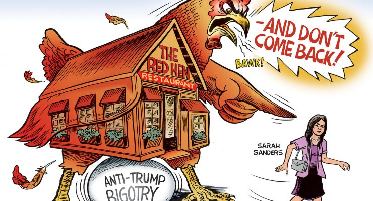 red hen sarah sanders cartoon